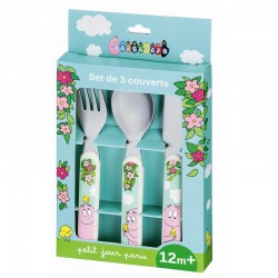 SET 3 COUVERTS BARBAPAPA PRINTEMPS FOURCHETTE CUILLERE COUTEAU