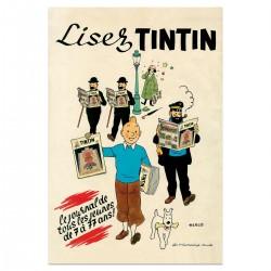 POSTER LISEZ LE JOURNAL DE TINTIN 40X60 CM TINTIN ET SES AMIS 23006