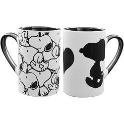 SET DE 2 MUGS SNOOPY NOIR ET BLANC 2 VISUELS DIFFERENTS