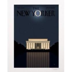 AFFICHE THE NEW YORKER VISUEL N52 LINCOLN MONUMET PAR STAAKE 40X50 CM AVEC PASSE PARTOUT