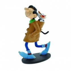 FIGURINE RESINE GASTON LAGAFFE EN DUFFLE COAT AVEC SON CHAT 18 CM