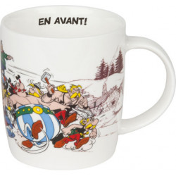 MUG PORCELAINE ASTERIX ET OBELIX FOND BLANC INTERIEUR CITATION EN AVANT