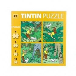 BOITE DE 4 PUZZLES TINTIN DANS LA JUNGLE DE 4 A 12 PIECES 81540