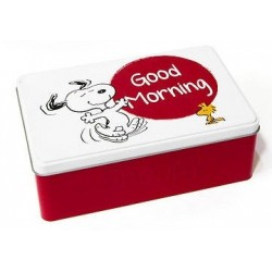 BOITE METAL SNOOPY ET LES PEANUTS BLANCHE GOOD MORNING